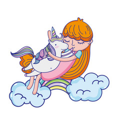 nice girl hugging unicorn in the clouds vector image