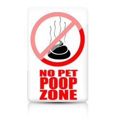 No pet poop zone sign vector