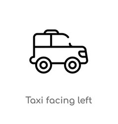 Outline taxi facing left icon isolated black vector