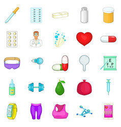 personal doctor icons set cartoon style vector image