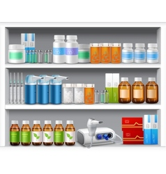 Pharmacy shelves realistic vector