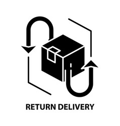 Return delivery icon black sign with vector