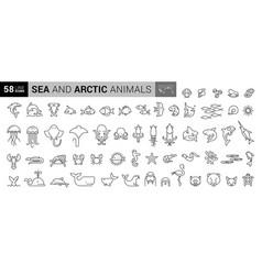 sea creatures line icon set set line icons on vector image