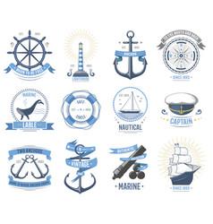 Sea nautical old rettro badge set sailing vector