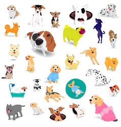 seamless pattern dogs adorable and friendly vector image