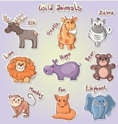 set cartoon wild animals vector image