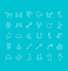 set line icons equestrian sport vector image