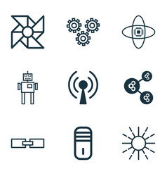 Set of 9 robotics icons includes algorithm vector