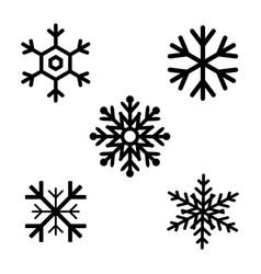set of black snowflakes icons black snowflake vector image