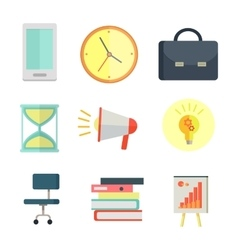 Set of Business Icons in Flat Style Design vector image