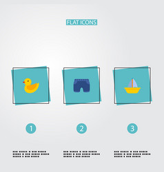 set of child icons flat style symbols with boat vector image