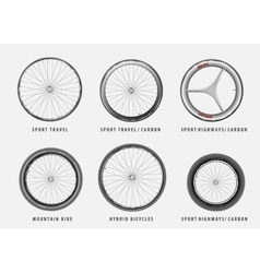 Set of different types of bicycle wheels vector