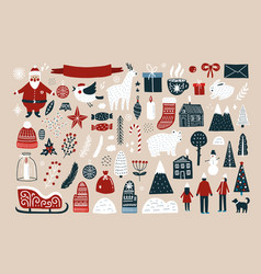 set of elements for christmas design vector image