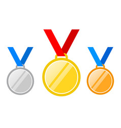 set of gold medal silver and bronze medals icons vector image