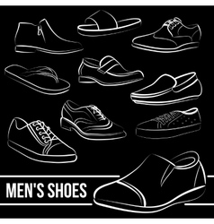 Set of men s shoes painted lines vector