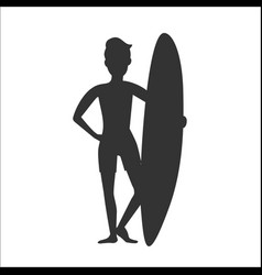 Silhouette of surfer man stay with surfboard vector