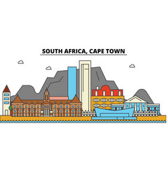 South africa cape town city skyline architecture vector