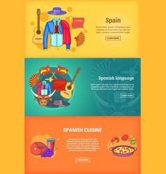 Spain banner set template cartoon style vector