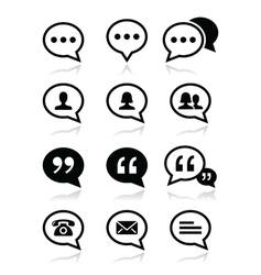 Speech bubble blog contact icons set vector