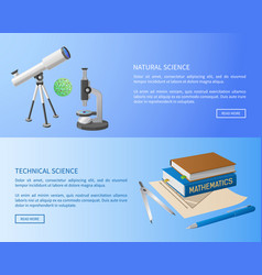 Technical and natural sciences web posters vector