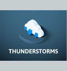 Thunderstorms isometric icon isolated on color vector