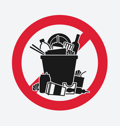 Trash bin overflowing garbage sign do not litter vector