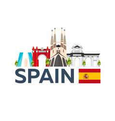 Travel to spain skyline flat vector
