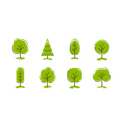 Tree icons set ecology concept nature symbol vector