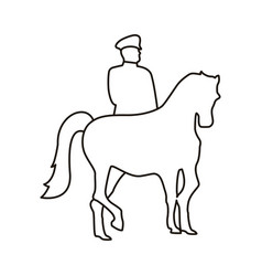Turkey soldier in horse silhouette line style icon vector