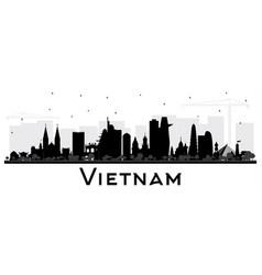 Vietnam city skyline silhouette with black vector