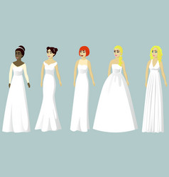 Wedding dresses of different styles vector