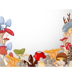 White background with different kind of mushrooms vector