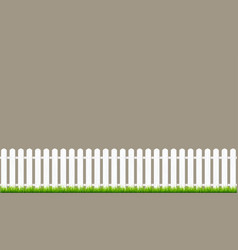 white fence with grass wooden picket background vector image