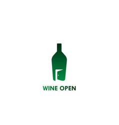 Wine open logo- white background vector