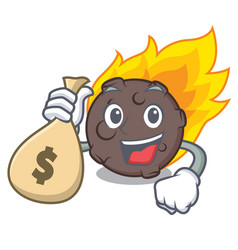 With money bag meteorite character cartoon style vector