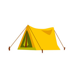yellow travel tent for summer camp adventure vector image