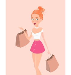 Young hipster girl with shopping bags Design vector image