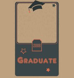 2018 graduate photo frame retro style black and vector image