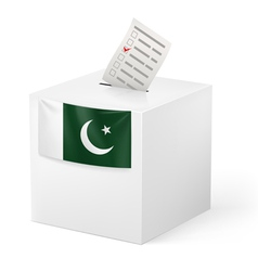 Ballot box with voting paper pakistan vector