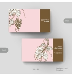 Business card template with grapes ornament vector image