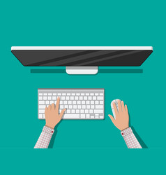 desktop computer with keyboard and mouse vector image