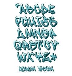 graffiti font 3d- hand written - alphabet vector image