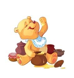 teddy bear with a pot of honey vector image