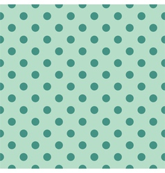 Tile pattern green polka dots on mint background vector