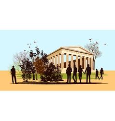 walking people in Greece vector image vector image