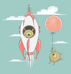 aliens travel to sky vector image vector image