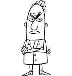 angry man cartoon coloring page vector image