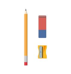 black pencil sharpener and eraser vector image vector image