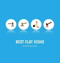 flat icon hammer set of legal justice law and vector image