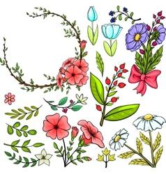 Set of cartoon flowers vector image vector image